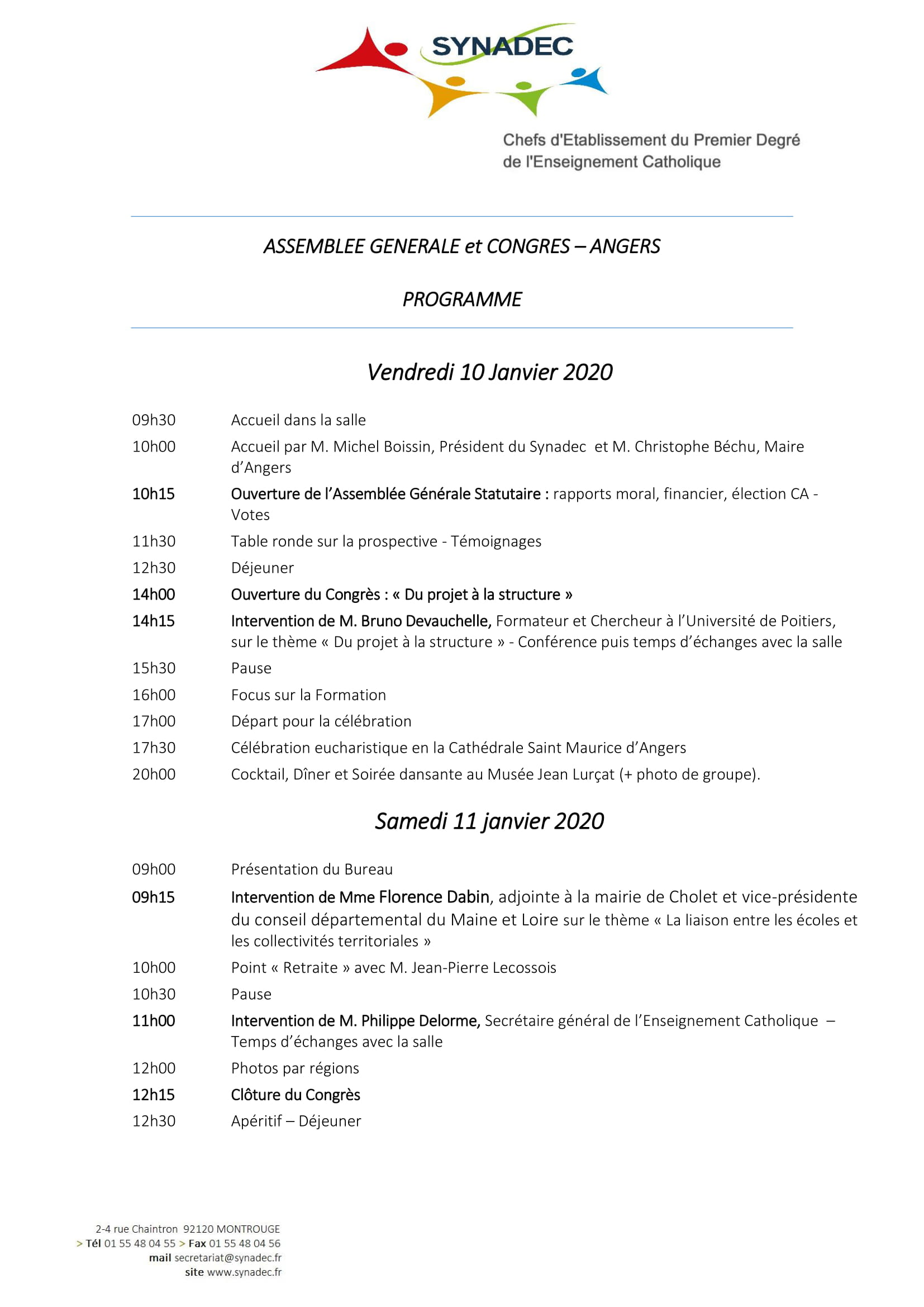 Programme AG 2020 Angers